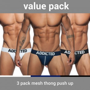 AD732P 3 PACK MESH THONG PUSH UP